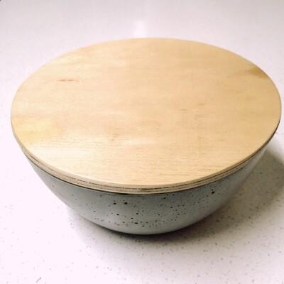 Bowl  chico con tapa madera natural