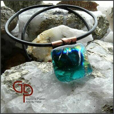Collier verre réactif sur cuivre #1