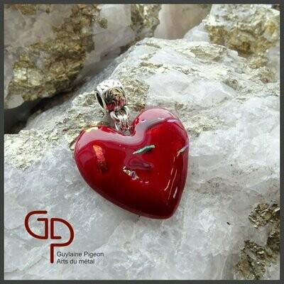 Pendentif coeur verre fusion #53