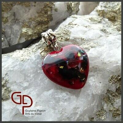 Pendentif coeur verre fusion #51