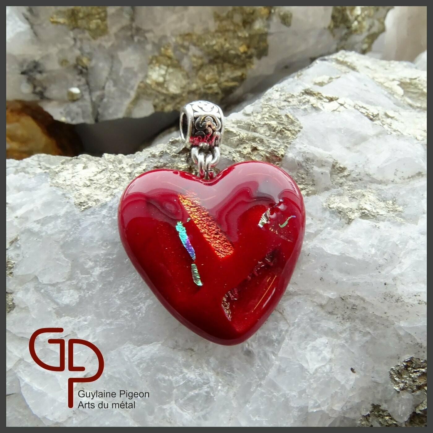 Pendentif coeur verre fusion #52