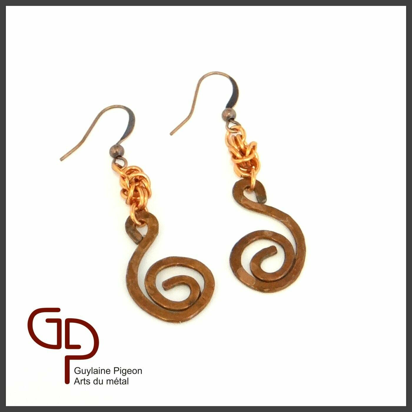 Boucles d'oreilles cuivre #2