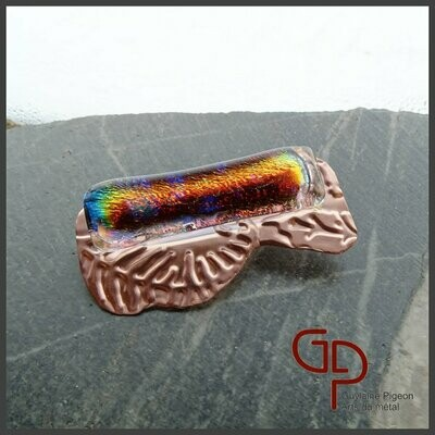 Broche cuivre et verre fusion #3