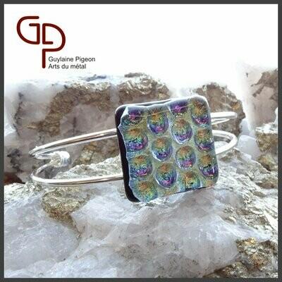 Bracelet argent et verre fusion #2