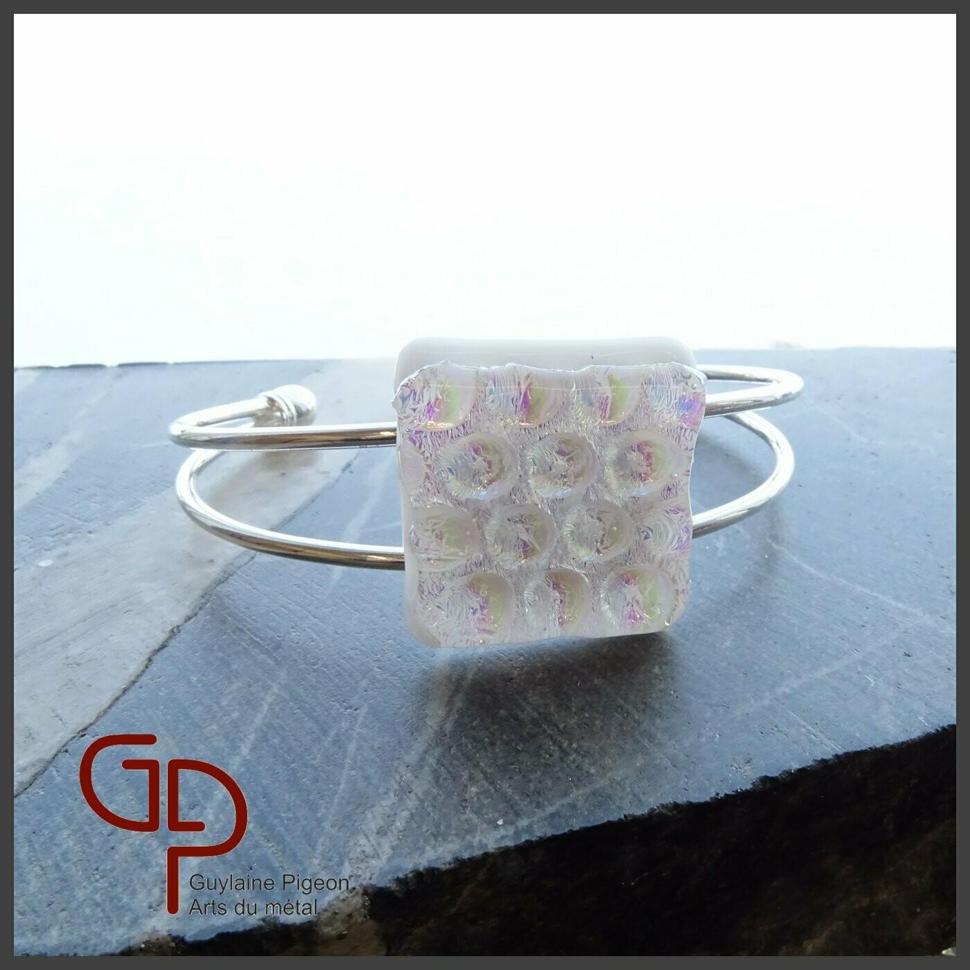 Bracelet argent et verre fusion #1