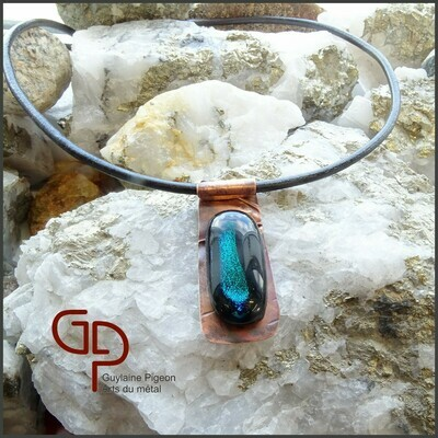 Collier verre dichroïque sur cuivre #3