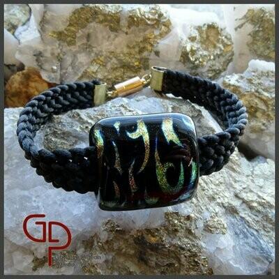 Bracelet vitre et kumihimo