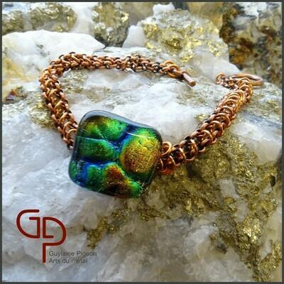 Bracelet vitre et chaîne maille cuivre