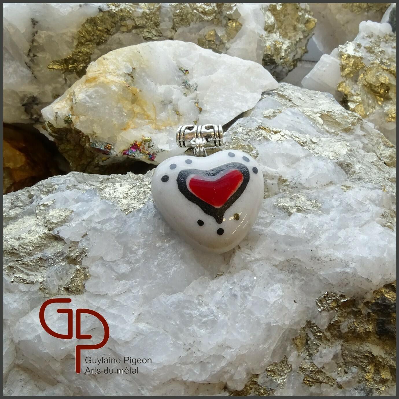 Pendentif coeur verre fusion #62