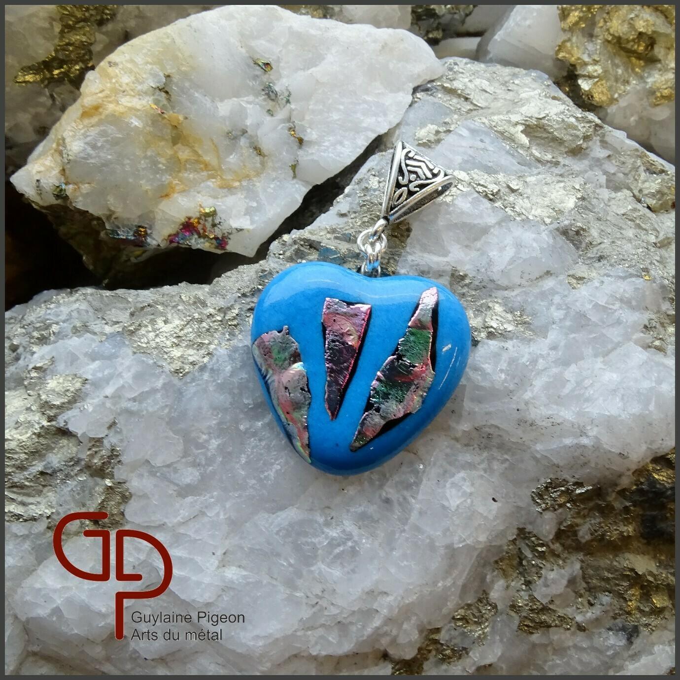 Pendentif coeur verre fusion #63
