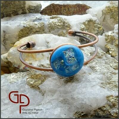 Bracelet cuivre et verre fusion #2