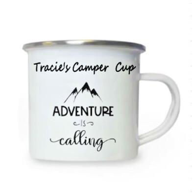Adventure is Calling White Enamel Cup
