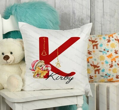 Christmas Red Letter Teddy Cushion Cover