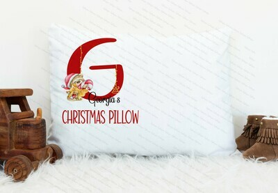 Christmas Red Letter Teddy Pillow Case
