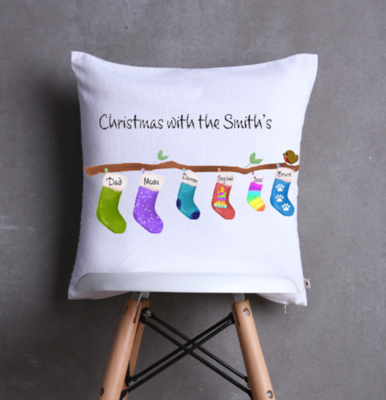 Family Christmas Stocking on a Branch Cushion