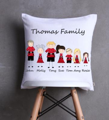 Stick Family Christmas Cushion