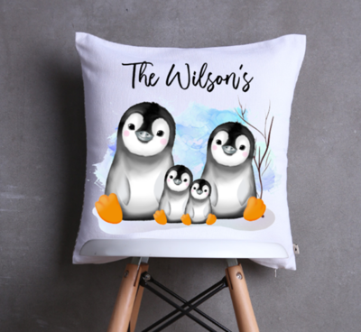 Penguin Family Group Cushion Cover