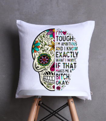 Skull Candy Cushion Cover -Strong Ambitious Woman