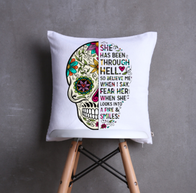 Skull Candy Cushion Cover -  She looks into the fire and  smiles