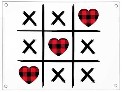Love Heart and Crosses Chopping Board