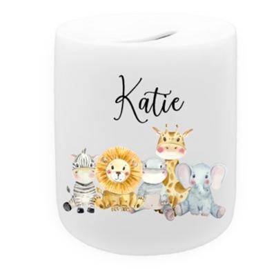 Cute Safari Animal Personalised Money Box