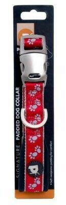 Petface® Signature Padded Dog Collar in Red And Grey Paws Small 30-35cm