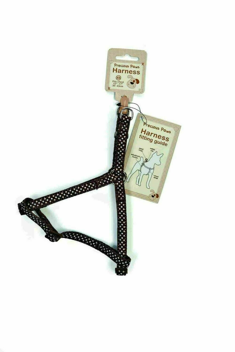 Precious Paws Harness Brown with  Dots - Extra Small Fits Chest 30-43cm