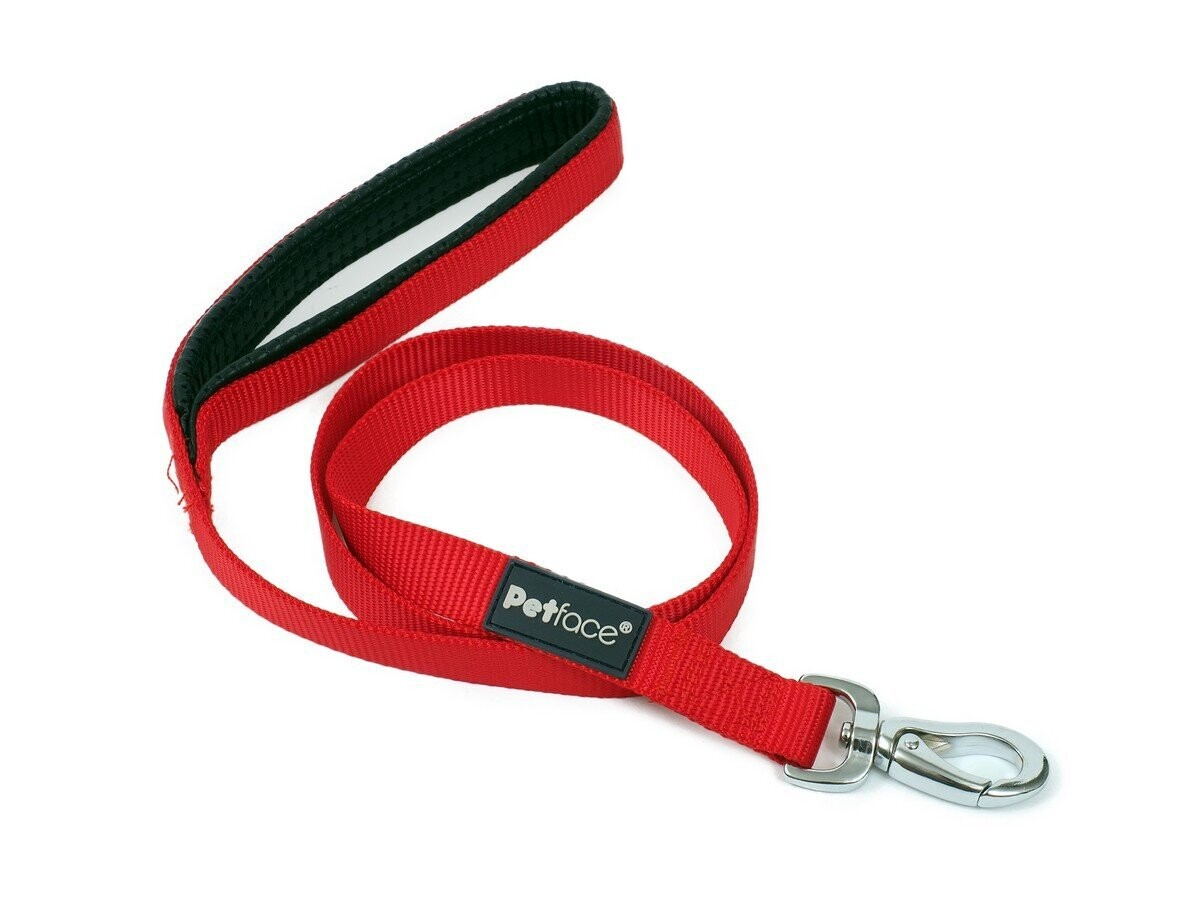 PADDED NYLON DOG LEAD - MED RED 102CM - FREE SHIPPING