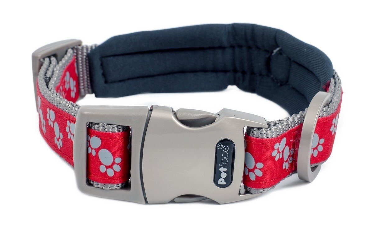 SIGNATURE PADDED DOG COLLAR - RED PAWS LARGE - (FREE SHIPPING)