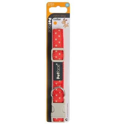 DOG COLLAR  - RED WITH GREY STARS - SML -  (FREE SHIPPING)