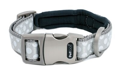 SIGNATURE PADDED DOG COLLAR GREY WITH DOTS SML - FREE SHIPPING