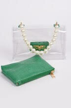 Pretty Pearl Top Clear Clutch Hand Bag