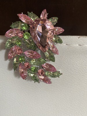 Crystal Glass Marquise Cluster Brooch