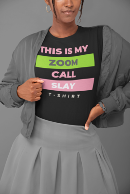 Zoom Slay Tee Pink & Green | Black T-Shirt
