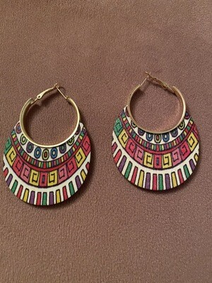 Tribal Multi Color Wood Earring
