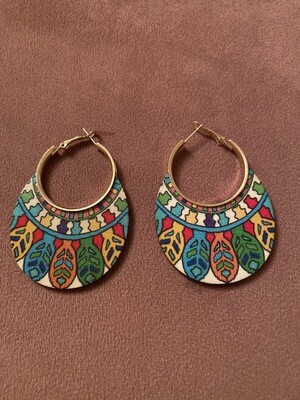 Tribal Leaf Multi Color Wood Earring