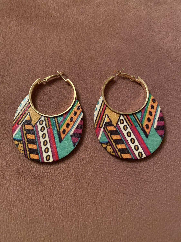 Tribal Geo Multi Color Wood Earring