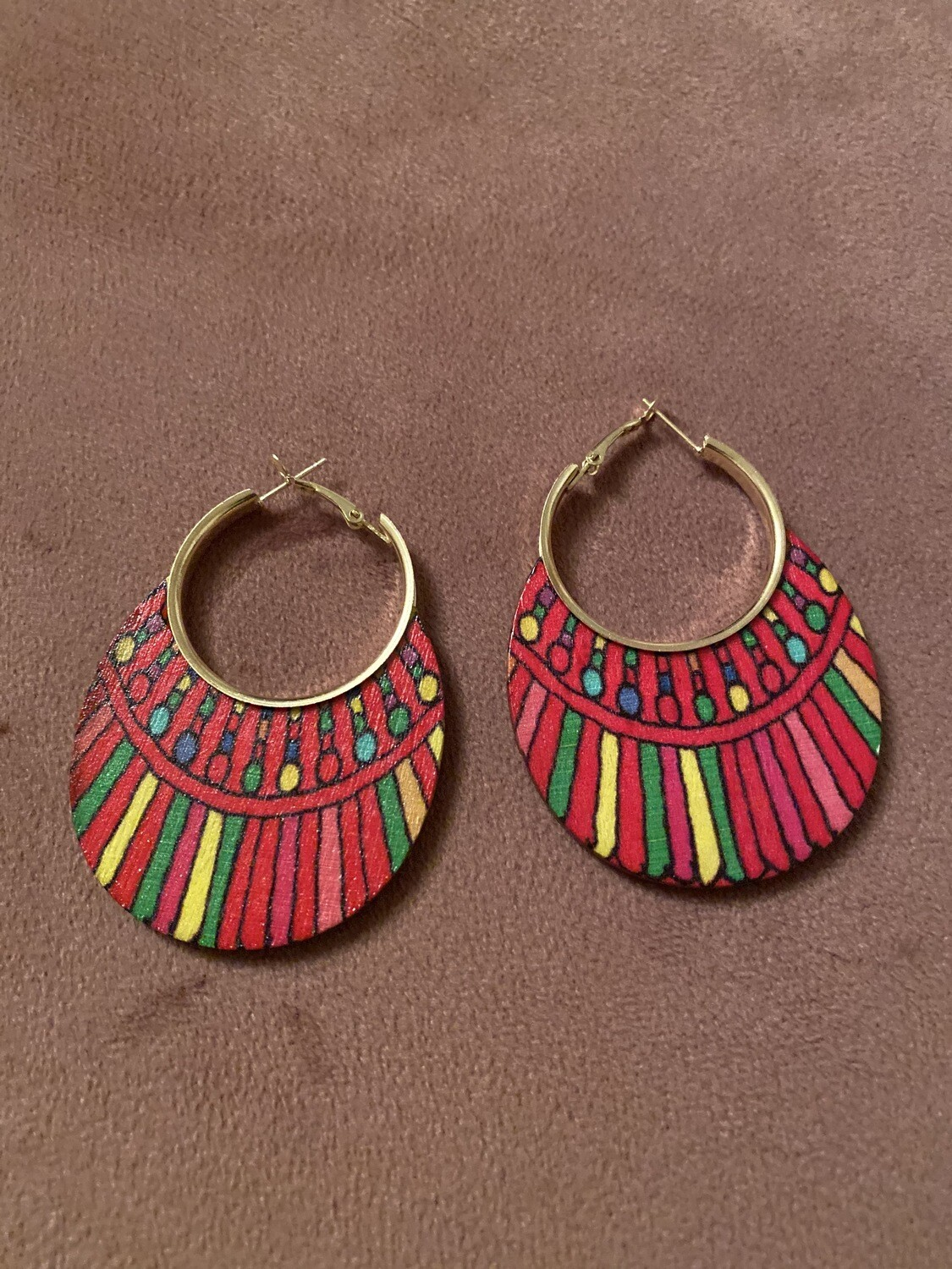 Tribal Stripe Multi Color Wood Earring