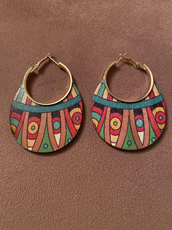 Tribal Arrow Multi Color Wood Earring