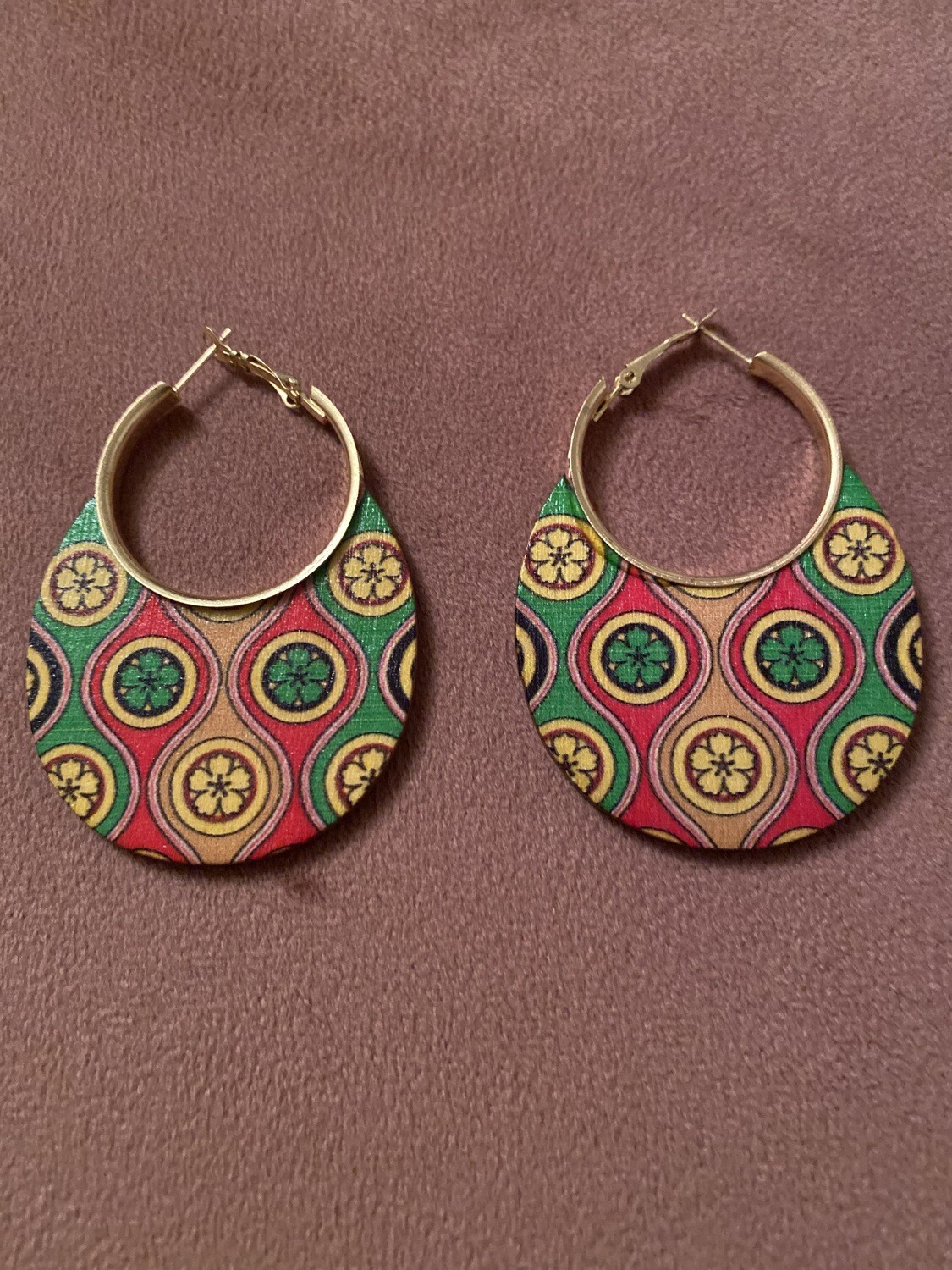 Tribal Flower Multi Color Wood Earring