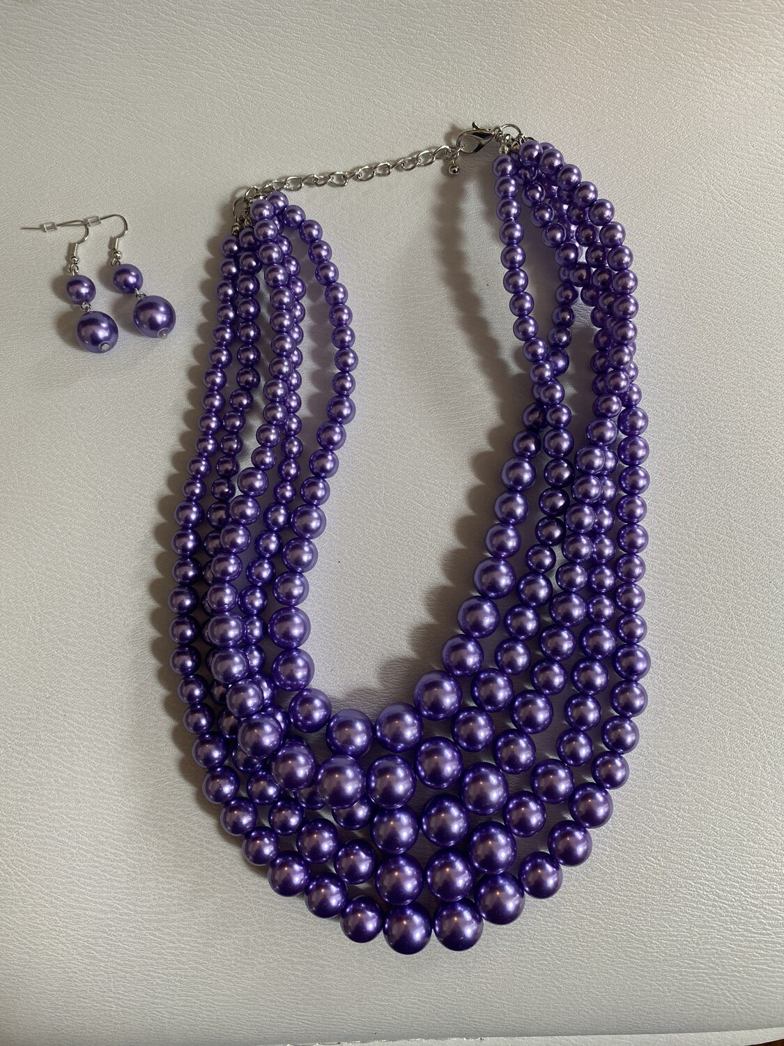 Purple Five Row Pearl Strand Necklace Set