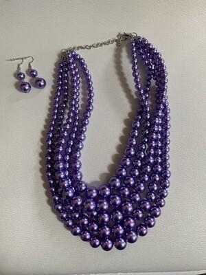 Purple Five Row Pearl Strand Necklace Set