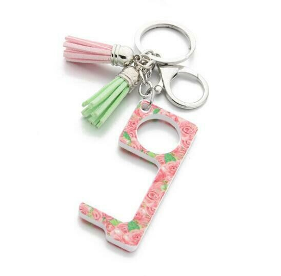Rose Print Touchless Door Opener w/ Tassel keychain