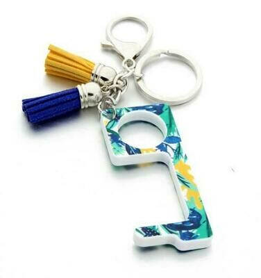 Blue floral Print Touchless Door Opener w/Tassel keychain