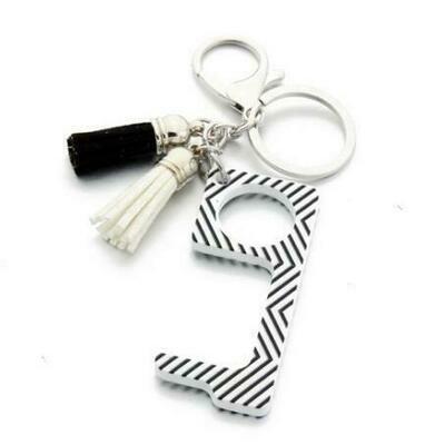 Zig Zag Print Touchless Door Opener w/ Tassel keychain