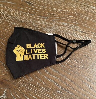 Black lives Matter Mask Black/Gold
