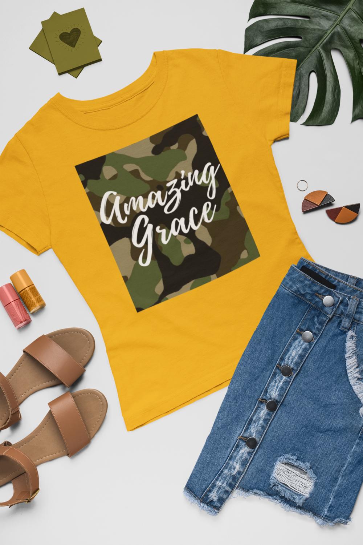 Amazing Grace Women's Tee   Fatigue  Gold T-Shirt