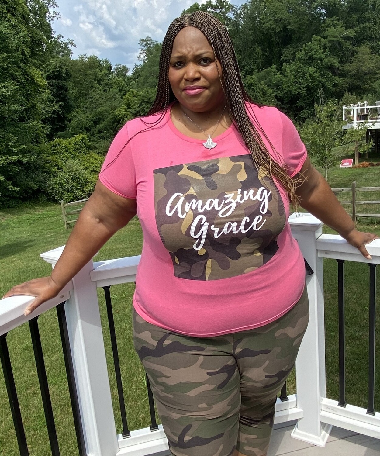 Amazing Grace Women's Tee | Fatigue | Pink T-Shirt