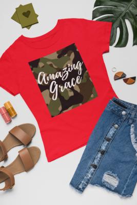 Amazing Grace Women's Tee | Fatigue| Red T-Shirt