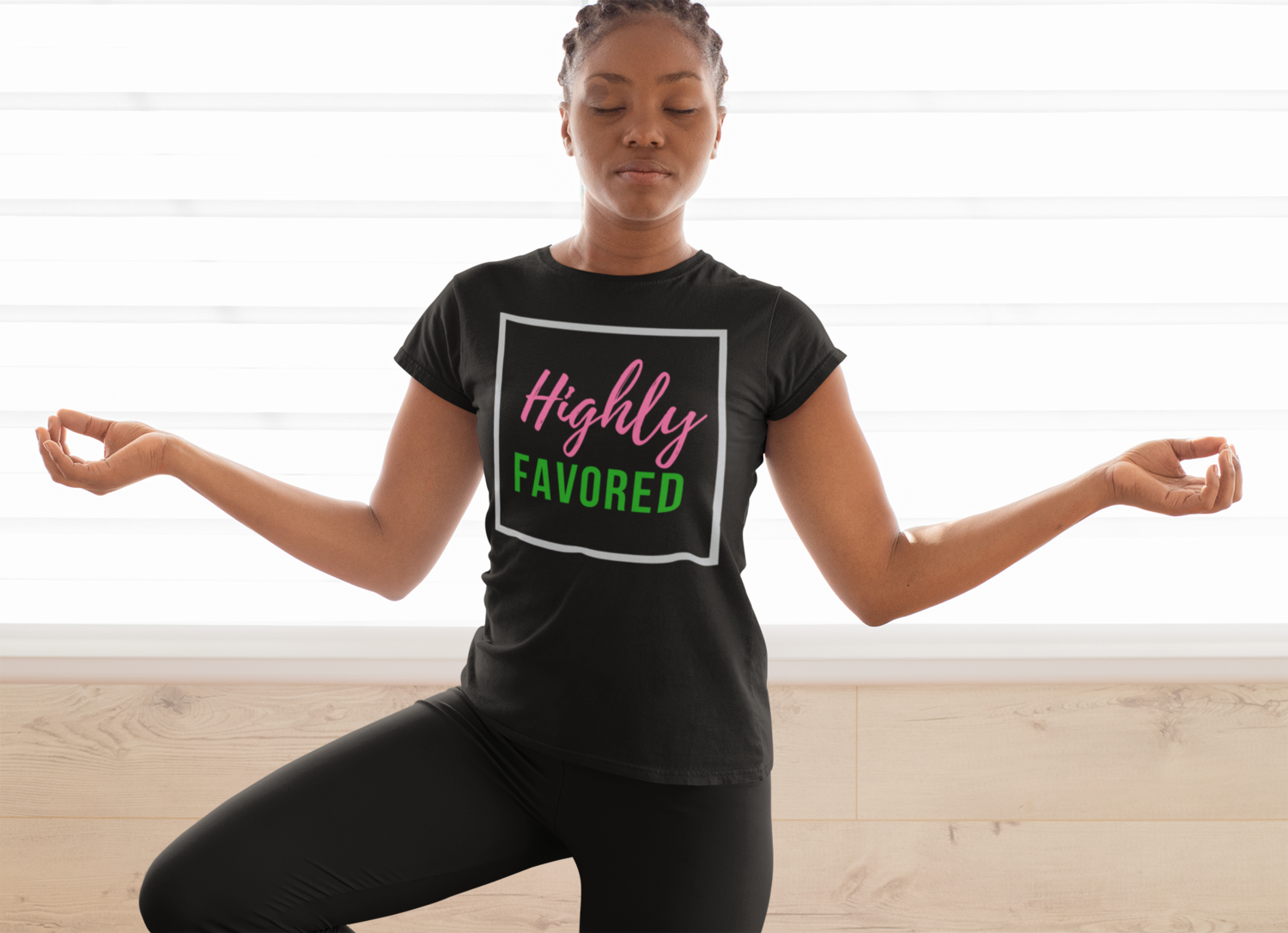 Highly Favored Pink& Green | Women's Tee| Black T-Shirt